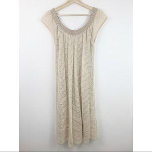 Iisli Mohair Sweater Dress L Cream Knit Scoop Neck